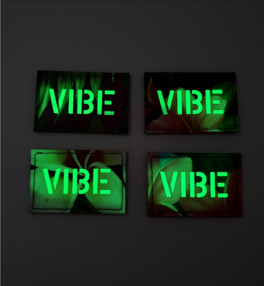 Image of VIBE laser cut floral glow-in-the-dark patch