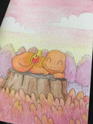 Image of Sleepy Charmander - A6 original