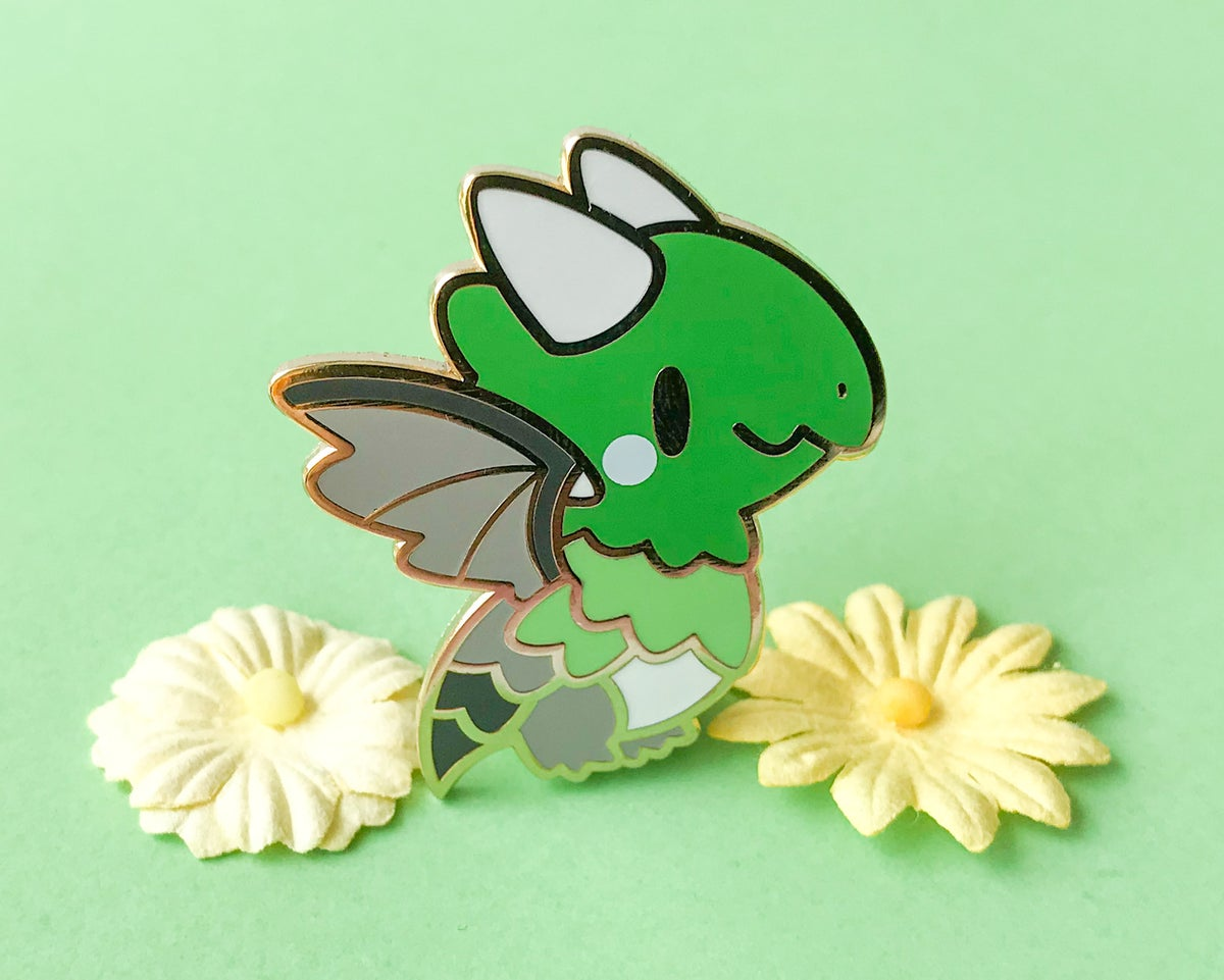 Aromantic Pride Dragon Enamel Pin