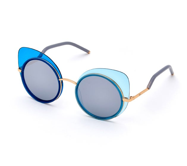 "Image of eYo x Caro Pepe  sunglasses (blue) + ""Blue Swan"" special edition print"