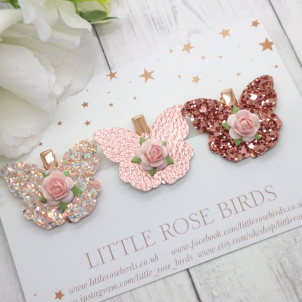 Image of Rose Gold Butterfly Set - Choice of Headband or Clip
