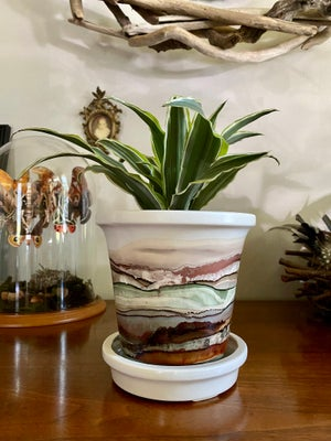 Image of Large Ceramic Planter with Saucer