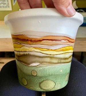 Image of Large Ceramic Planter With Removable Saucer