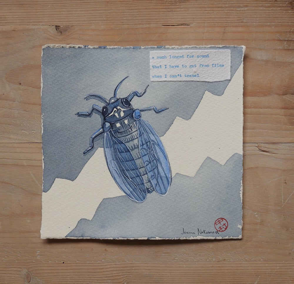 Image of haiku painting - cicada original