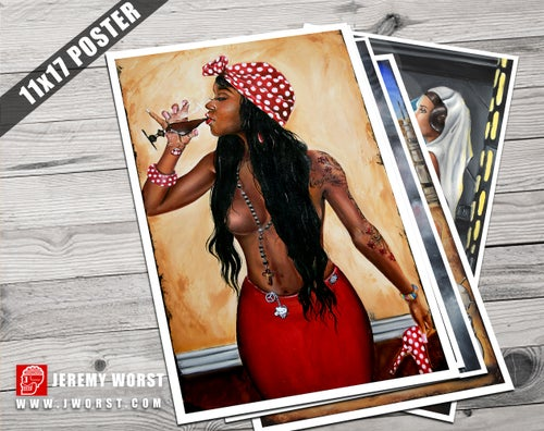 Image of JEREMY WORST Conjure sipping Sexy ink Tattoo Artwork wine African black Girl urban scarf urban
