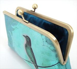 Image of Blue bird clutch bag