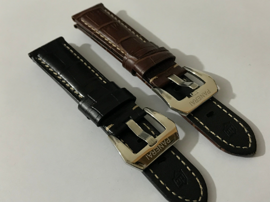 Image of 22mm/24mm/26mm panerai genuine leather watch strap band bracelet with stainless steel buckle