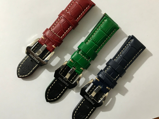 Image of 22mm/24mm/26mm panerai genuine leather watch strap band bracelet with stainless steel buckle.
