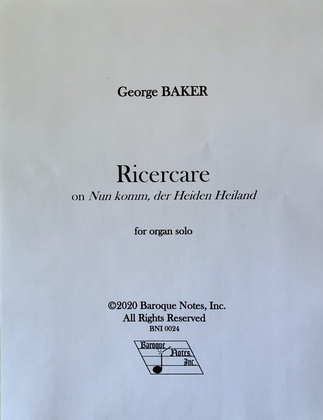 Image of Ricercare on Nun komm, der Heiden Heiland (PDF)
