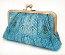 Image of Teal peacock, original silk-lined clutch bag