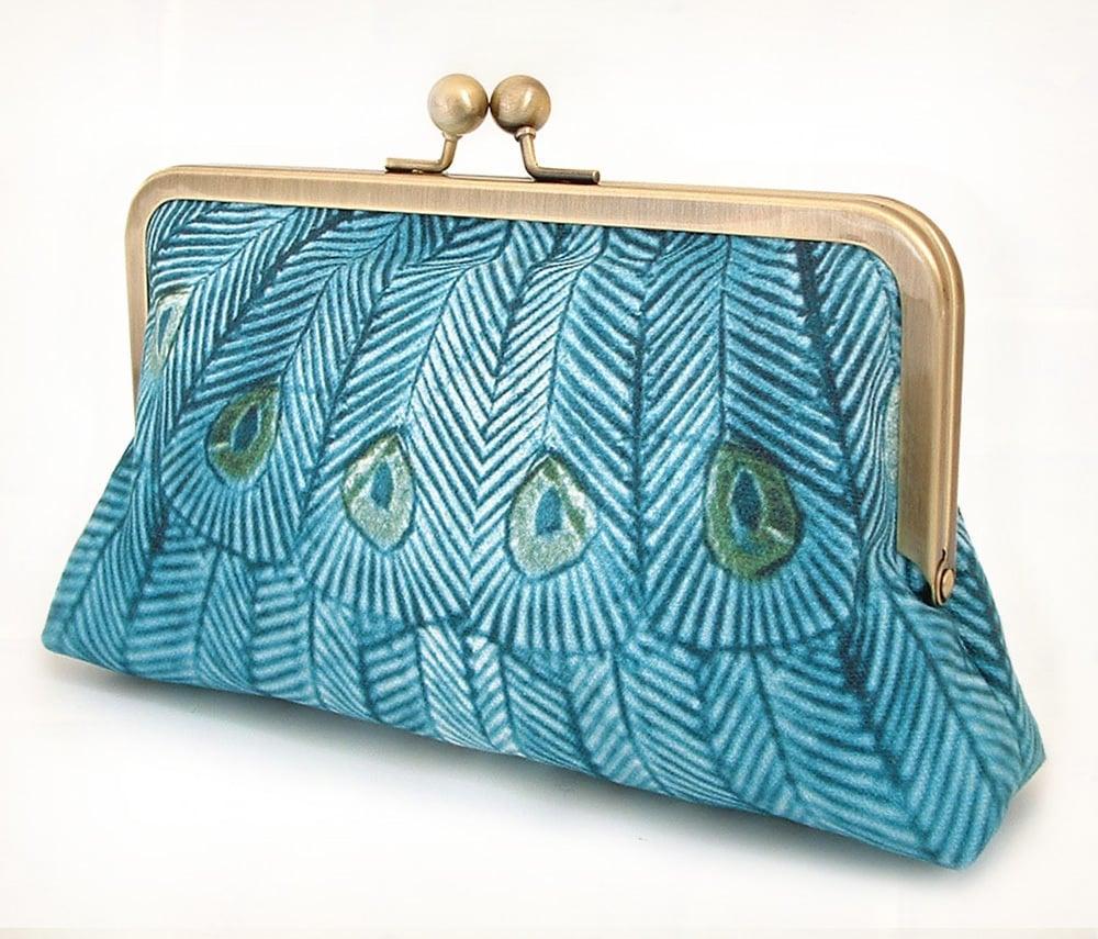 Image of Teal peacock, original silk-lined clutch bag
