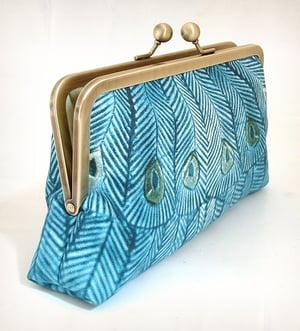 Image of Teal peacock clutch bag