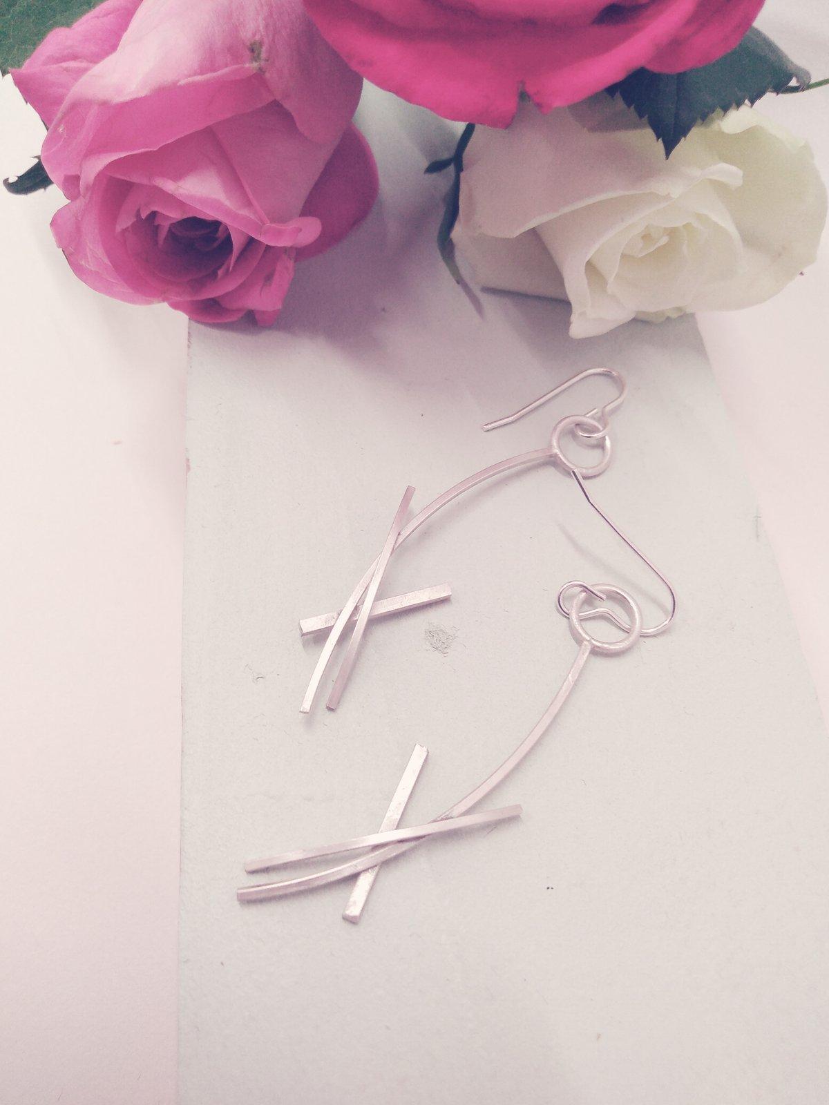 Image of Long Elegant Silver Earrings
