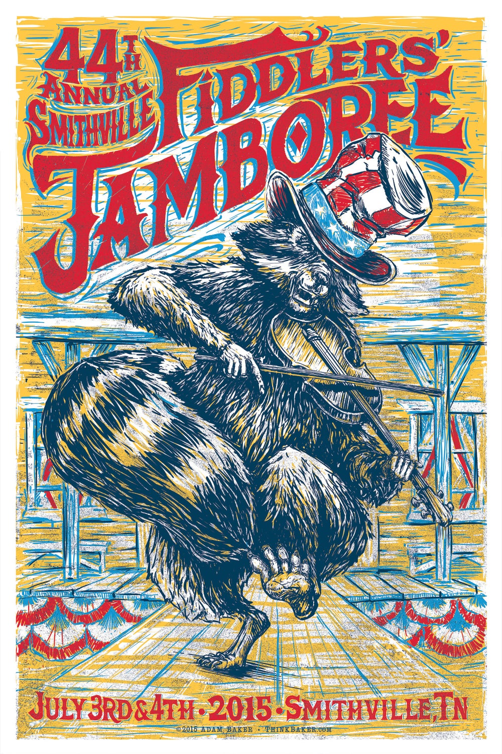 44th Annual  Smithville Fiddlers' Jamboree Screenprint Poster