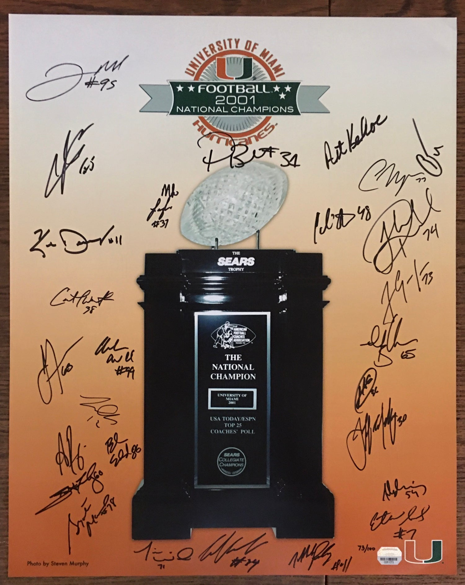 Image of Limited Edition 2001 National Champions 10-year Reunion Signed Poster