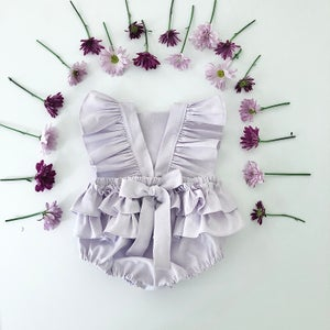Image of Linen ruffle romper in Lavender