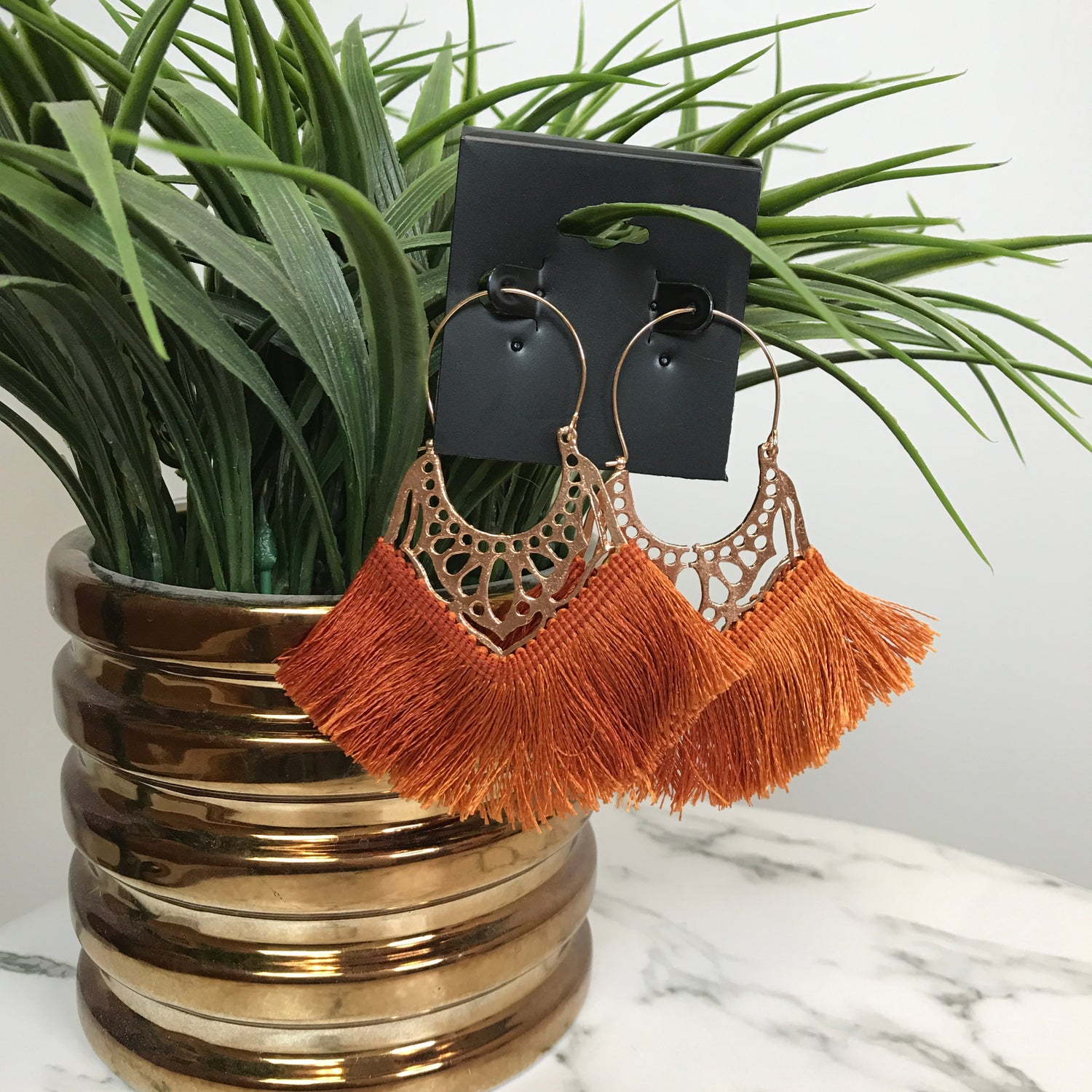 Image of Hot Gal Rust Fan Earrings