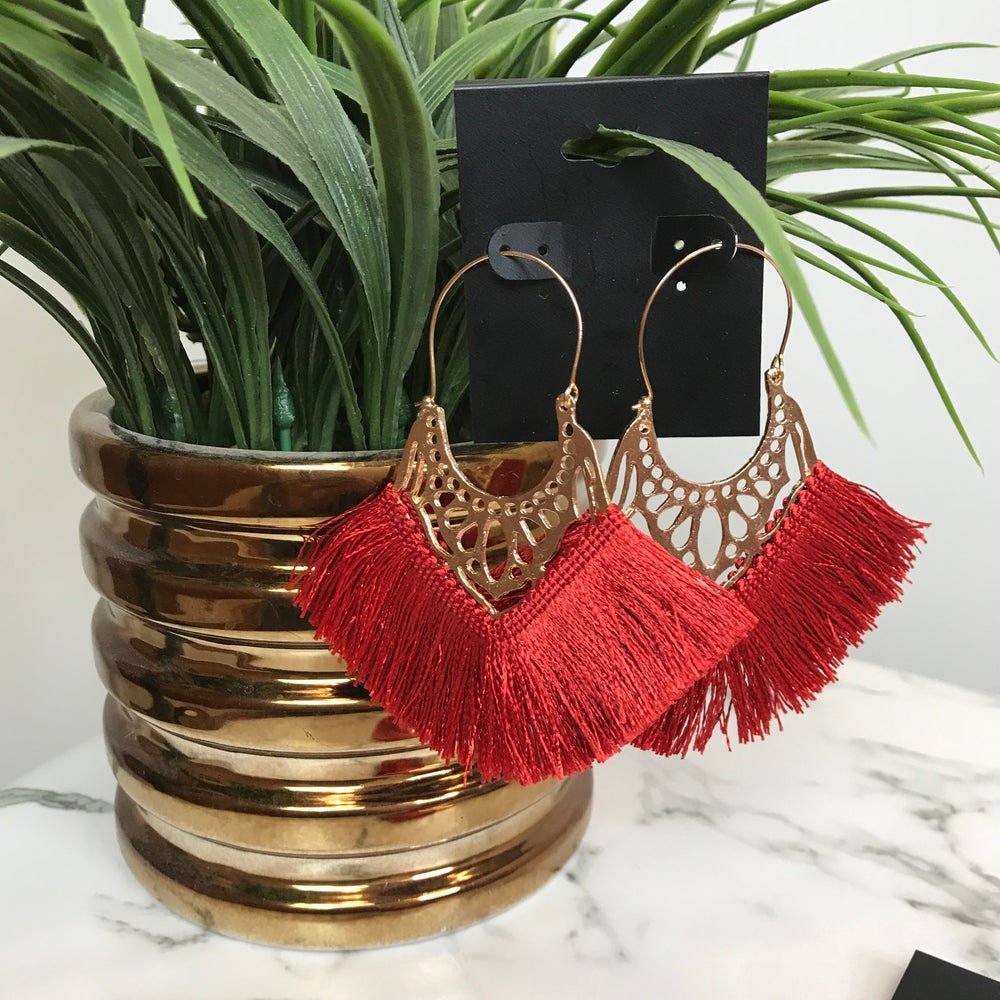 Image of Hot Gal Brick Red Fan Earrings