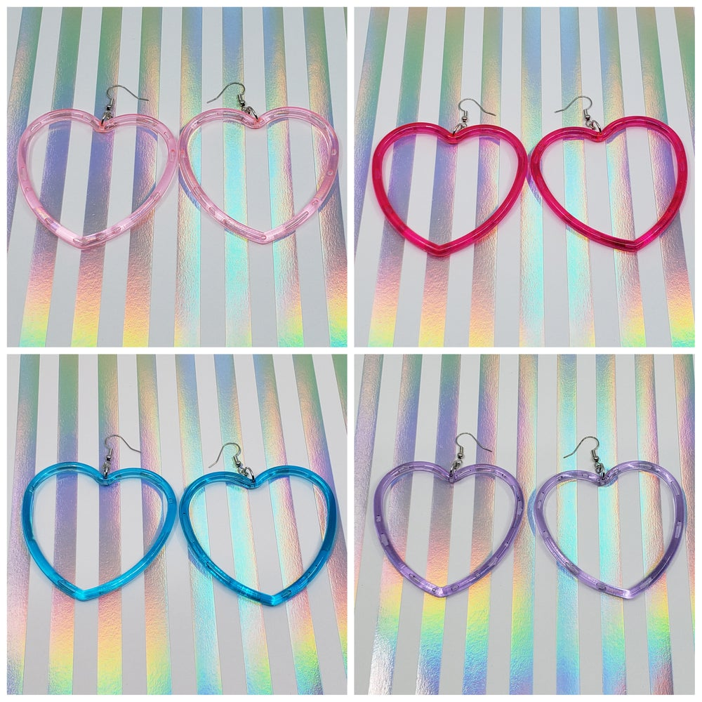 Image of Heart Hoops Earrings