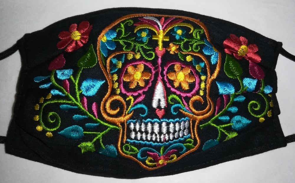 Image of Sugar skull embroidered face mask