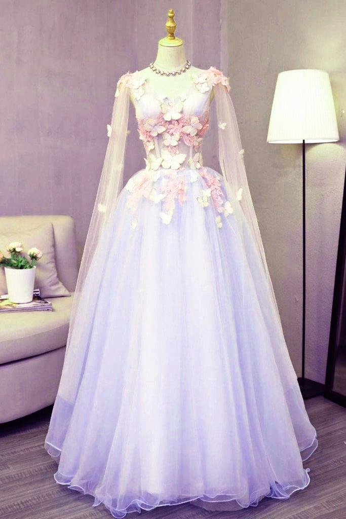 Lavender Tulle Long Sweet 16 Party Dress, A-line Floor Length Evening Dress