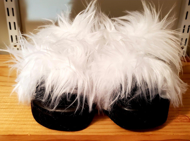 Image of Two-Strap Faux Fur Slides (9)