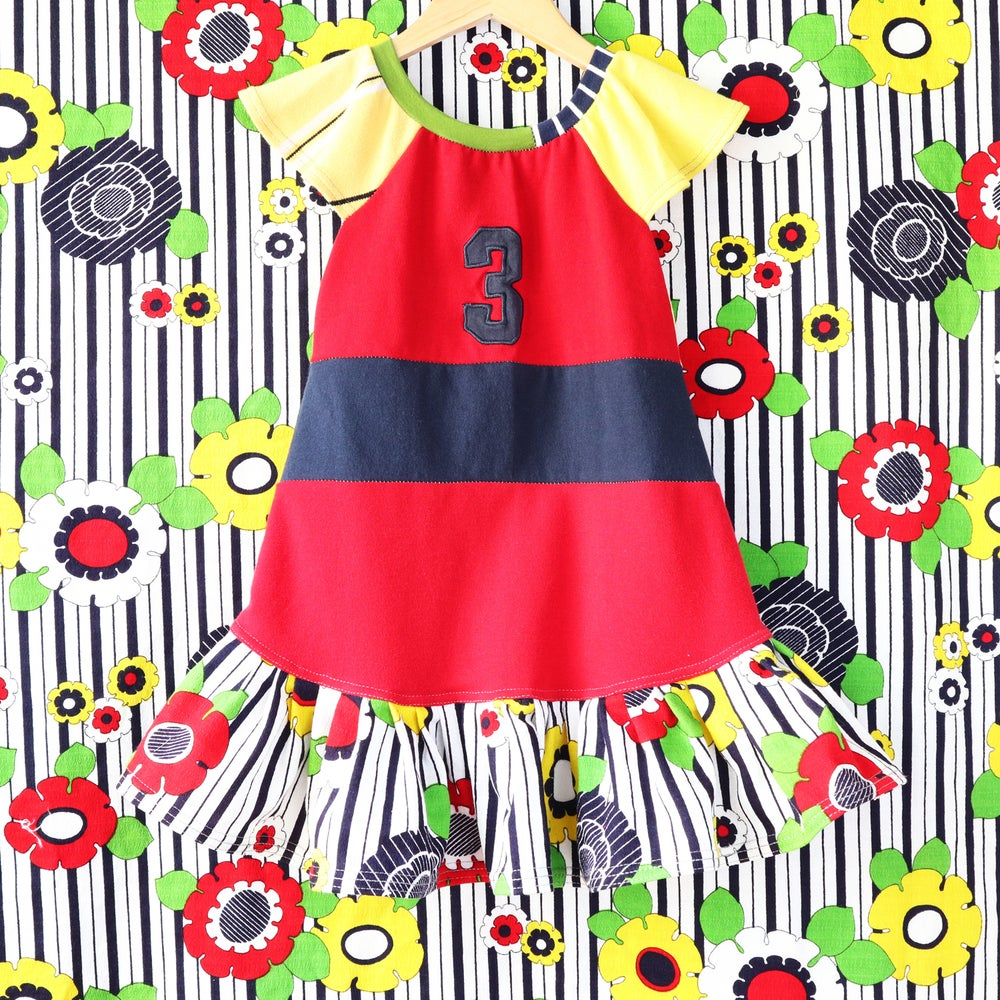 Image of vintage fabric flower red navy yellow green stripe 3T birthday three 3rd 3 flutter sleeve dress