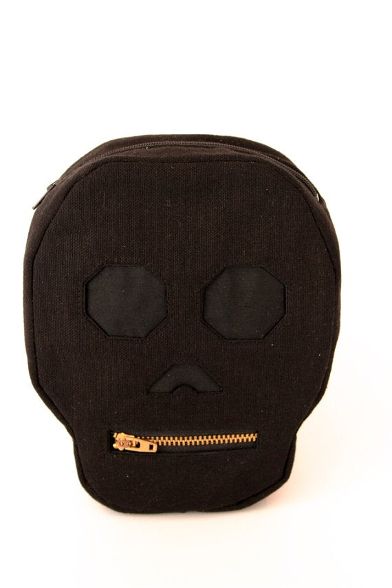 Calavera Pouch - Black Canvas Skull Zippered Pouch