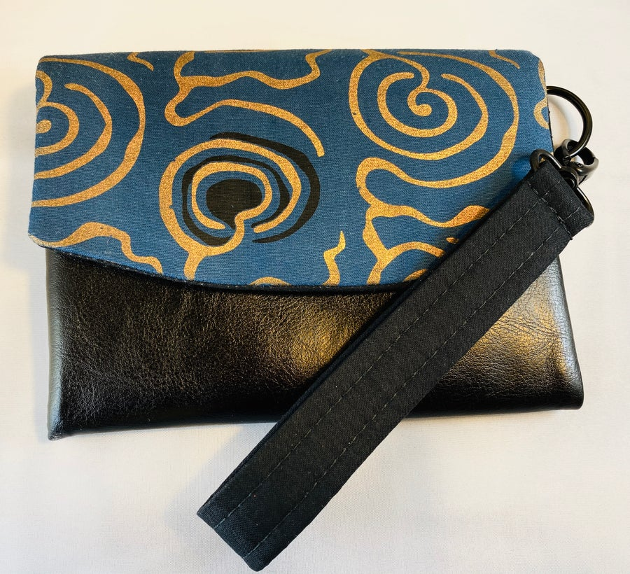 Image of Designs By IvoryB Kimiya Wallet- Blue Gold African Print
