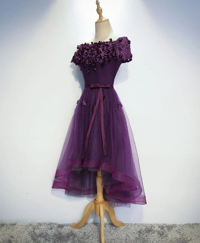 High Low Purple Tulle Off Shoulder Party Dress, Cute Homecoming Dress