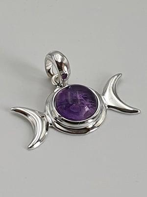 Image of AMETHYST Triple Moon Silver Pendant