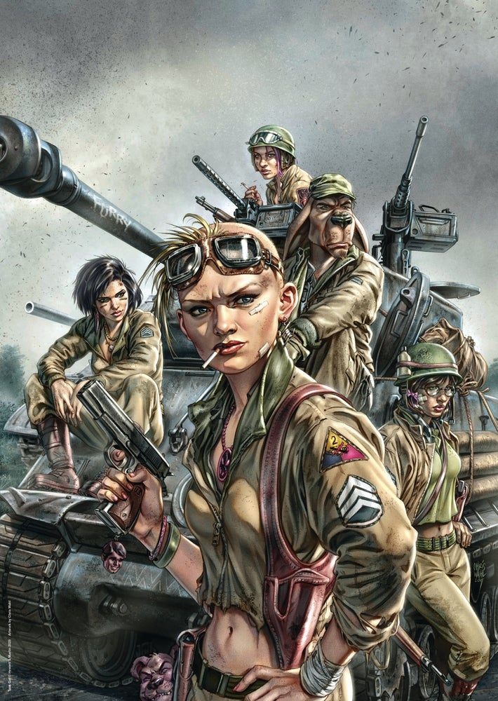 Image of TANK GIRL SUPERTUBE A2 POSTER PRINT SET - 3 Large Format Prints plus bonus Mask Print
