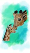 Giraffe & Child Art Print
