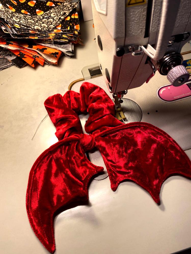 Image of Red Velvet  Bat Wing Scrunchie