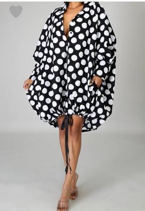 Image of Over Sized Polka Dot Midi  Dress
