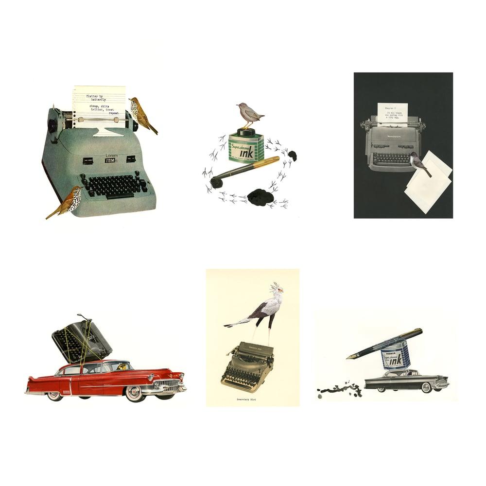 Image of Writer Types. Greeting card set.