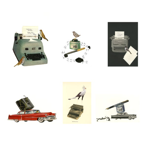 Image of Writer Types. Greeting card set.