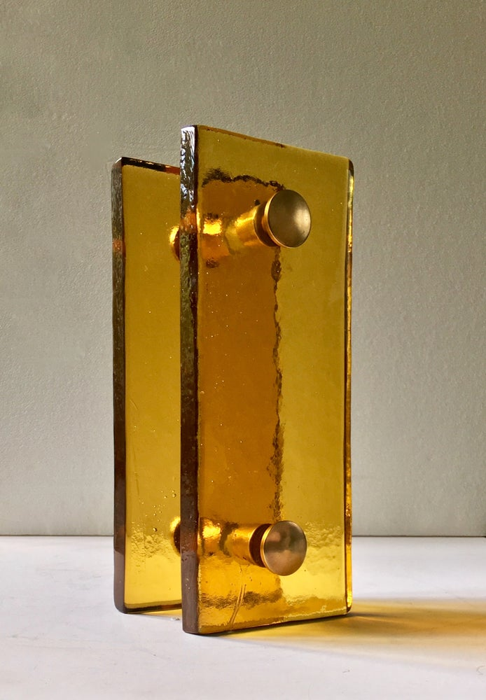 Image of Pair of French Amber Glass Handles with Brass Fixings (2 Pairs Available)
