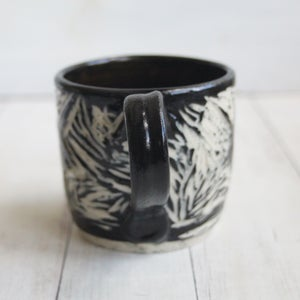 Image of Black and White Sgraffito Mug with Chubby Bird, Hand Carved Coffee Cup, 12 ounce,Made in USA