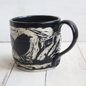 Image of Black and White Sgraffito Mug with Chubby Bird, Hand Carved Pottery Coffee Cup, 16 oz., Made in USA