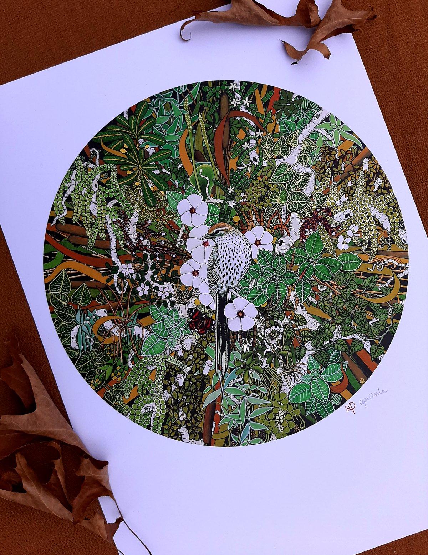 'Fernbird and Wetland Ecosystem' A3 Print