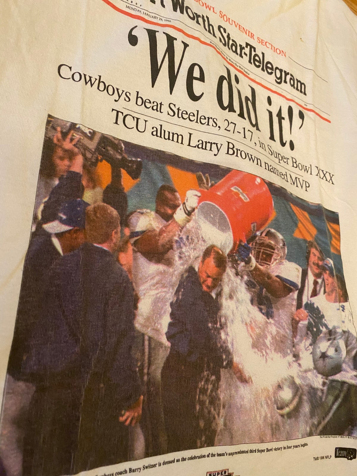Image of 1996 Dallas Cowboys Super Bowl Newspaper Tee