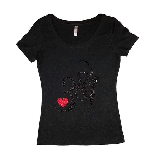 Image of 381 Logo Tee Black|Black Glitter