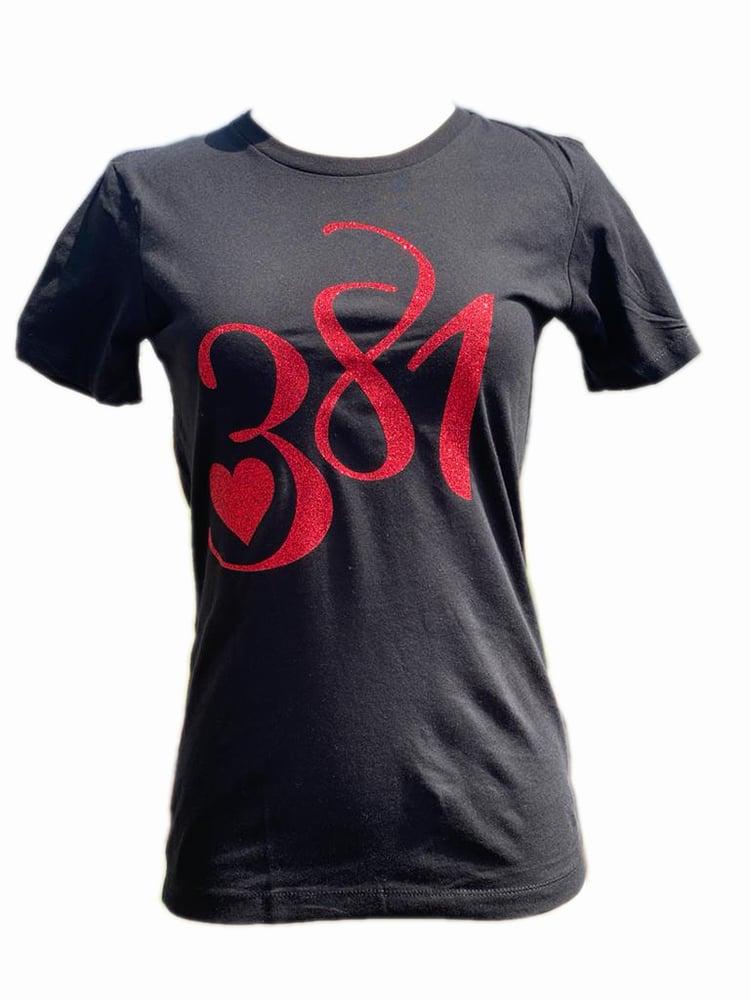 Image of 381 Logo Tee Black|Red Glitter