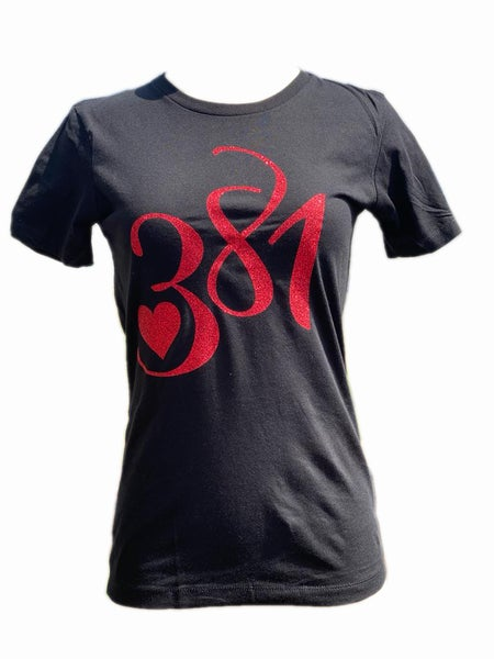 Image of 381 Logo Tee Black|Red Glitter