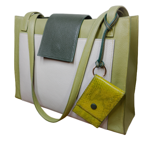 Image of AMY HANDBAG - Green, Dark Green & Grey