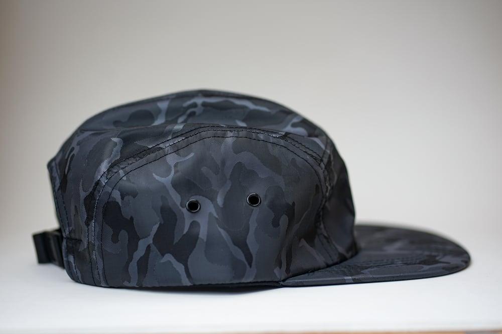 Image of 5 Panel Hat Black Camo (Karimo Really Good Logo)
