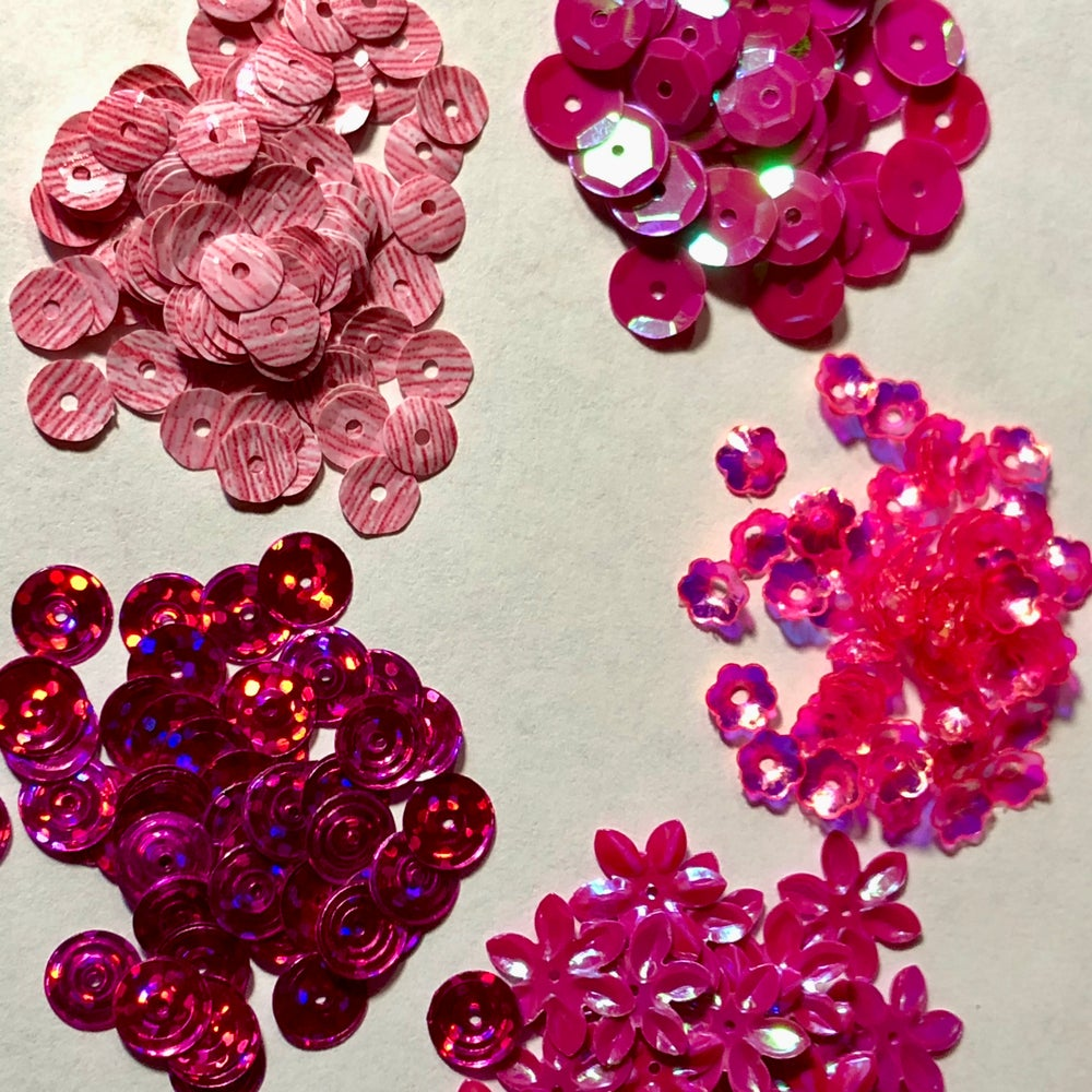 Image of 5 Packages of Pink-Hot Pink Sequins