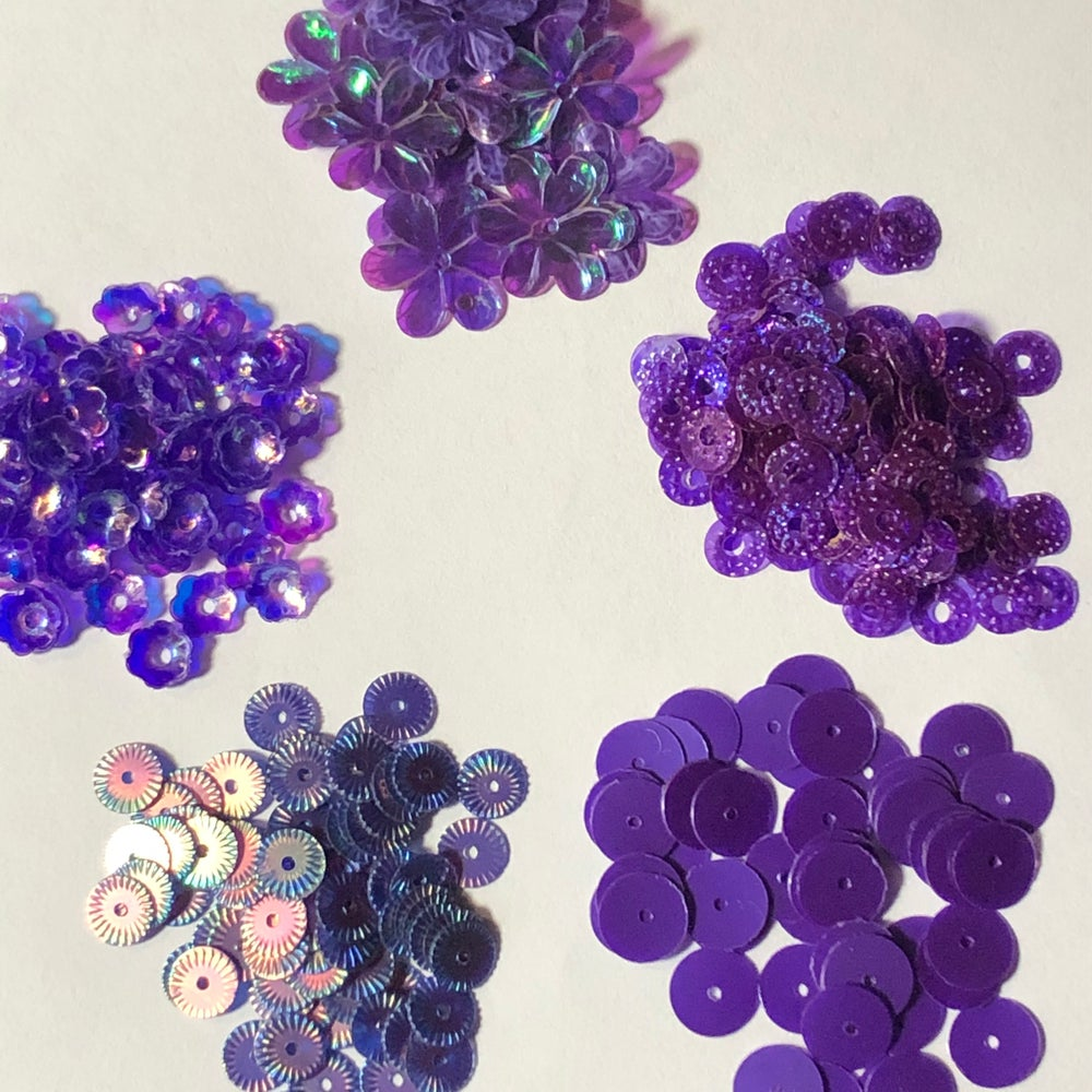 Image of 5 Packages of Purple Sequins