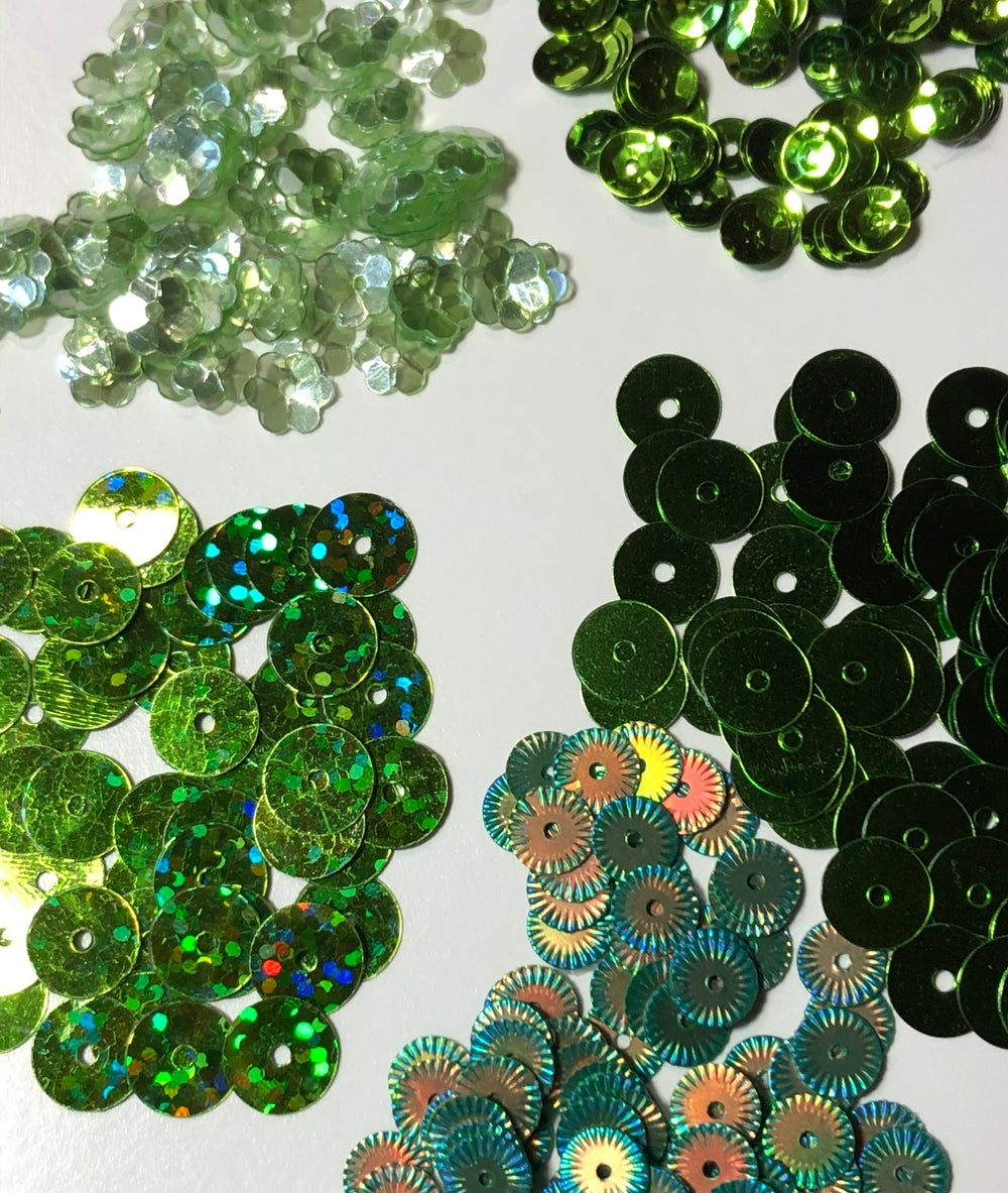 Image of 5 Packages of Green Sequins